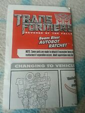 Transformers ROTF BEAM BLAST AUTOBOT RATCHET INSTRUCTION BOOKLET ONLY