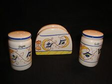 "MATCHING SALT & PEPPER SHAKERS AND NAPKING HOLDER SET ITAILIAN ""Sale & Pepe"""