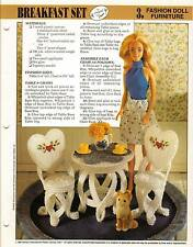 BREAKFAST SET TABLE & CHAIRS FASHION DOLL FURNITURE PLASTIC CANVAS PATTERN ONLY
