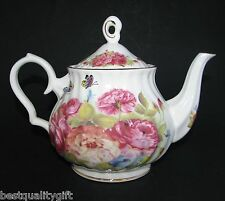 NEW GRACE WHITE+GOLD YELLOW FLOWER+BUTTERFLY PORCELAIN TEA,COFFEE POT-5.25 CUPS