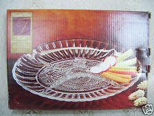 """Trellis Crystal Clear 8 1/2"""" Oval Glass Sectional Vegetable Tray In Original Box"""