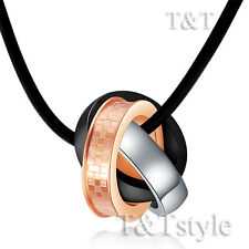 TTstyle Three Tone Stainless Steel Three Lucky Ring Pendant Necklace