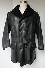 VTG 1940s Shawl Collar Horsehide Car Coat Jacket Leather Black Shearling Lined