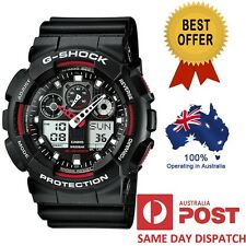 Casio G-Shock GA-100-1A4 GA-100-1A4ER Quartz Analog Digital Watch Black Red New
