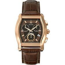 Accutron Men's 64B112 Stratford Quartz Yellow Gold Case Brown Leather Band Watch