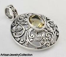 PERIDOT BALI PENDANT 925 STERLING SILVER ARTISAN JEWELRY COLLECTION P179