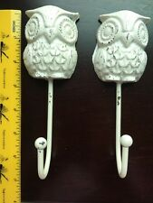 New Set of 2 Cast Iron Shabby Chic Distressed White Owl Hook Coat Hanger Vintage