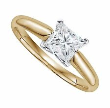 2 ct Princess Cut Solitaire Engagement Ring Square Set in 14k Solid Yellow Gold