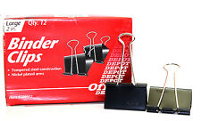 """12 OFFICE BINDER CLIPS SIZE 2"""" inch LARGE TEMPERED STEEL & NICKEL PLATED ARMS"""