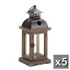 "5 rustic brown wood metal 12"" Candle holder Lantern wedding table centerpieces"