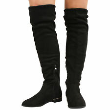 NEW WOMENS  ZIP UP OVER THE KNEE HIGH BLOCK LOW HEEL STRETCH LADIES BOOTS SHOES