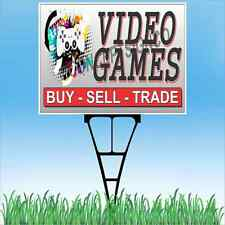 """18""""x24"""" VIDEO GAMES Outdoor Yard Sign & Stake Sidewalk Lawn Buy Sell Trade Store"""