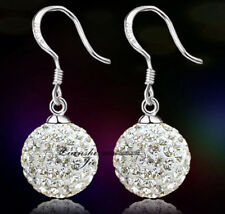 925 Sterling Silver Swarovski Elements Crystal Disco Ball Dangle Drop Earrings