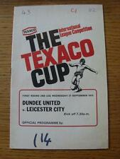 27/09/1972 Dundee United v Leicester City [Texaco Cup] (Creased, Writing On Fron