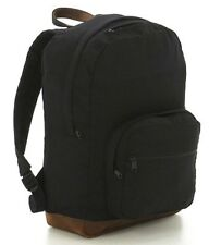 BLACK Cotton CanvasTeardrop Double Strap Shoulder Backpack Book bag Daypack 9667