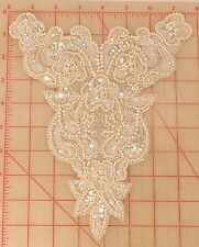 12 iridescent pearl white small bodice beaded appliques 6 flower design 9.5""