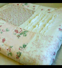 Simply shabby chic full queen quilt patchwork vintage pink f/q ditsy rose ruffle