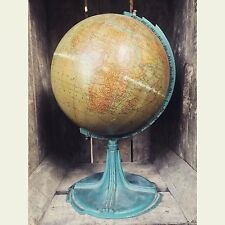 Antique Vintage 1920's Globe World Map Deco Metal Stand Turquoise 1930's