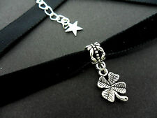 A LADIES GIRLS 10MM BLACK VELVET & FOUR LEAF CLOVER CHARM CHOKER NECKLACE . NEW.