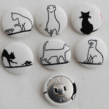 6 Handmade Fabric Covered Buttons - Sewing - Black Cat - 25mm