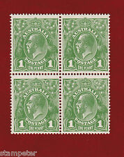 1926 Australia, KGV, SG 86, Watermark Small Multi, P 14, Block Four, One Penny