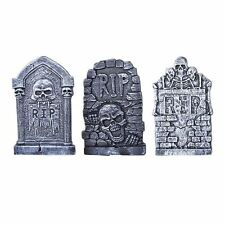 Skeleton RIP Tombstone X 3 Graveyard 35 x 23cm  Halloween Party Prop Decoration