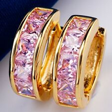 Fashion Party Gift Real 18K Gold Plated PinkCubic Zircon Hoop Earrings