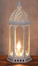 LARGE Vintage Moroccan Style Antique White Metal Lantern Table Side Lamp NEW