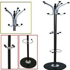 NEW 16 HOOKS COAT STAND HAT JACKET HOLDER CLOTHES HANGER UMBRELLA RACK / BLACK