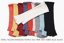 Women's thin soft 100% wool half finger long length gloves fingerless Light Blue