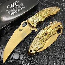 Master Collection All Gold Dragon Fantasy Collector's Ballistic Pocket Knife