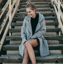 Brandy Melville gray heavy weight open front kennedy wool coat NWT +freeStickers
