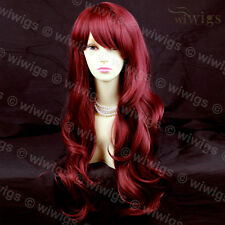 Sexy Beautiful Layered wavy Burgundy mix Red Long Ladies Wigs Skin Top WIWIGS UK