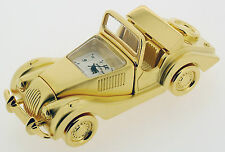 Novelty Miniature Morgan Car Clock. Gold Plated Solid Brass