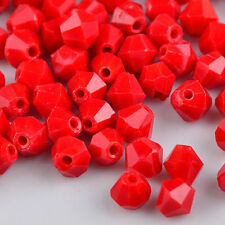 300Pcs Crystal charm Bicone loose spacer 4mm glass Clear bead,Red porcelain