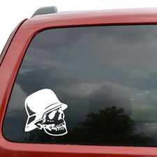"German Soldier Skull Car Window Decor Vinyl Decal Sticker- 6"" Tall White"