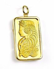 PAMP Suisse Lady Fortuna 5g 999.9 Fine Gold Bar in 14k Yellow Gold Pendant Bezel