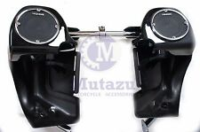 "Mutazu Vivid Black Chrome Trim 5.25"" Speaker Lower Fairing for Harley FLTR FLHT"