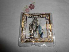 "Our Lady of Grace -  1 3/4"" x 3/4""  Silver Tone Metal Pocket Statue with case"
