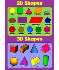 2D Shapes 3D Shapes - Childrens Basic Learn Wall Chart Educational Childs Poster