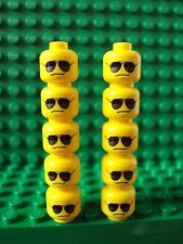 Lego ~ Lot Of 10 Minifig Heads Sold Black Sunglasses  Grim Male/Boy/Man