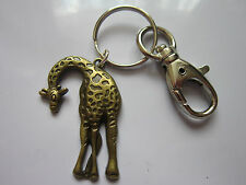 Key chain ring antique bronze giraffe pendant charm gift  accessory 10.5 cm long