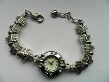 NEW Stunning Handmade  Charm Bracelet Quartz Watch with OWL Charms  19.5cm