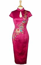 KAREN MILLEN PINK STRETCH SATIN CHINESE EMBROIDERED PENCIL WIGGLE DRESS 10 38