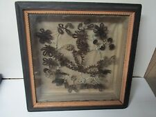 """Gorgeous Victorian Hair Art Floral Flowers in Shadow Box - 13"""" Square"""