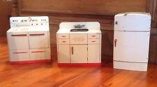 Vintage Wolverine 3 Pc Tin Toy Kitchen Set Sink Stove Refrigerator Good Condit