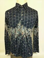Vintage CHEMISE ET CIE Colorful Peacock on Fountain Flowers Playboy Disco Shirt