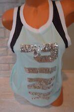 Victoria's Secret Love Pink t shirt tank top tee XS aqua sequin bling gray