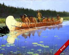 EXPLORER & SIOUX INDIAN GUIDES IN CANOE OIL PAINTING ART PRINT ON REAL CANVAS