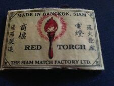 old match box top -  red torch -  made in bangkok siam